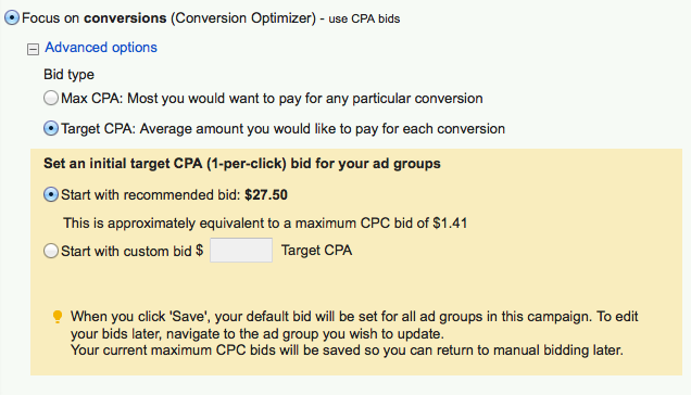 Adwords Conversion Optimizer Options
